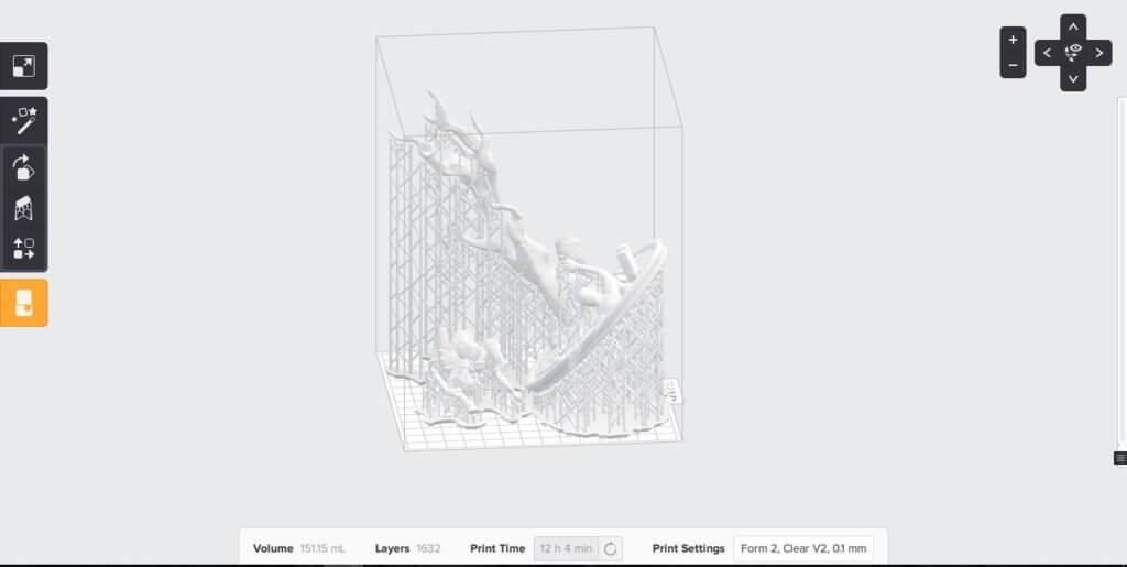Zrzut ekranu z oprogramowania PreForm dedykowanego do drukarki 3D SLA Form 2.
