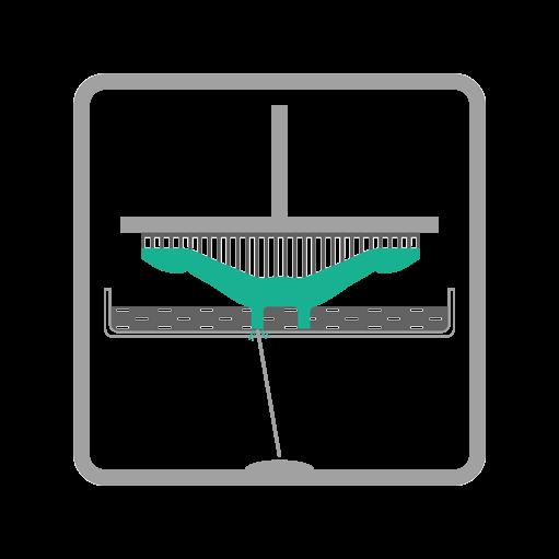 Schemat działania technologii SLA Stereolitografia - etap utwardzania