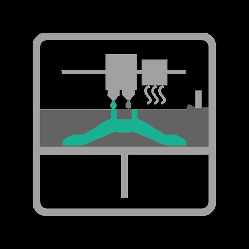 Schemat działania technologii MFJ HP Multi Jet Fusion - etap druku 3D